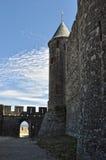 Uma fortaleza antiga em Carcassonne imagens de stock