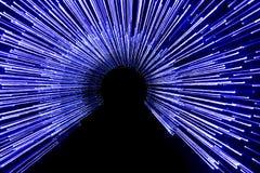 Uma foto azul artística das luzes conduzidas com uma estadia de exposição longa Fotos de Stock Royalty Free