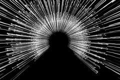 Uma foto branca artística das luzes conduzidas com uma estadia de exposição longa Imagem de Stock
