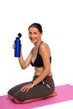 Uma foto de uma menina com o frasco da água Foto de Stock