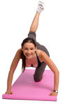 Uma foto de uma mulher que faz exercícios Imagens de Stock Royalty Free