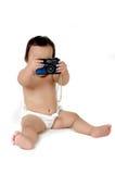 Uma fotografia asiática nova da menina com câmera do vintage Imagens de Stock