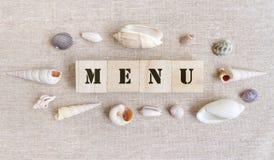 Menu, tema do alimento de mar imagem de stock royalty free