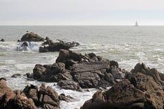 Uma gaivota está estando em uma rocha em uma praia perto de Pornic (França) Fotos de Stock