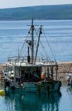 Uma gaivota senta-se em um mastro do navio de navigação fotos de stock royalty free