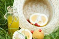 Uma garrafa da garrafa do suco caseiro da limonada com cereja e citrinas com o chapéu de palha que encontra-se no ar livre da gra imagens de stock