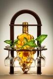 Uma garrafa do vinho branco, dos vidros e das folhas do verde Imagens de Stock Royalty Free