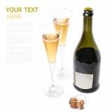 Uma garrafa do vinho em um fundo branco com dois vidros Fotografia de Stock
