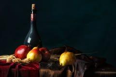 Uma garrafa do vinho velho e do fruto maduro em um fundo escuro, do Dutch vida ainda Fotografia de Stock Royalty Free