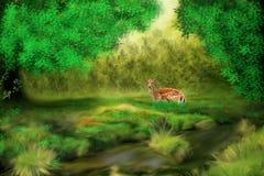 Uma gazela na floresta ilustração do vetor