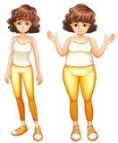 Uma gordura e uma senhora magro em suas calças amarelas Imagens de Stock Royalty Free