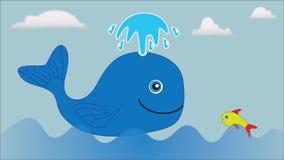 Uma grande baleia azul e um peixe pequeno flutuam no mar Fotos de Stock Royalty Free