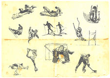 Uma grande coleção de esportes de inverno Imagem de Stock Royalty Free