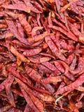 Uma grande pilha de pimentões vermelhos secados picantes, um ingrediente comum em muitos pratos asiáticos fotografia de stock royalty free