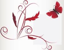 Uma grandes borboleta e flor vermelhas Fotos de Stock