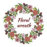 Uma grinalda de flores cor-de-rosa Ilustra??o do vetor ilustração stock