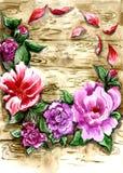 Uma grinalda multi-colorida das flores e das folhas contra uma parede de madeira ilustração royalty free
