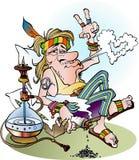 Uma hippie que fuma uma junção Imagem de Stock