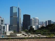 Uma ideia da skyline de Hong Kong de Hong Kong Zoological e dos jardins botânicos imagens de stock royalty free