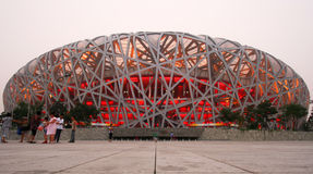 Uma ideia do estádio nacional olímpico, Beijing Fotografia de Stock