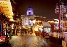 Uma ideia do mercado do Natal de Nottingham no mercado velho, Nottingham, Nottinghamshire - 30 de novembro de 2017 imagens de stock royalty free