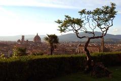 Uma ideia do por do sol do centro histórico da Florença Foto de Stock