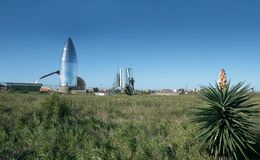 Uma ideia do protótipo Starship de SpaceX Boca Chica Village, Cameron County, Texas, Estados Unidos fotos de stock royalty free
