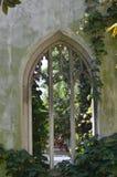 Uma igreja arruinada, coberto de vegetação com as videiras Fotos de Stock