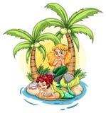 Uma ilha com duas sereias ilustração royalty free