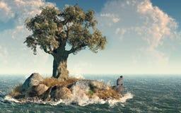 Uma ilha da árvore ilustração stock