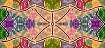Uma ilustração baseada no estilo aborígene do depicti da pintura do ponto Imagens de Stock Royalty Free