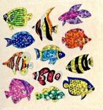 Uma ilustração de etiquetas coloridas dos peixes para seu uso Fotografia de Stock