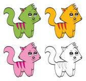 Gatos bonitos dos desenhos animados Fotografia de Stock