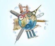 Uma ilustração de um globo com os lugares os mais famosos no mundo Um modelo de cruzes da bicicleta do globo Um conceito do trave Fotografia de Stock