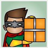 Uma ilustração de um herói que guarda uma caixa do pacote Fotos de Stock Royalty Free
