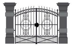 Uma ilustração de uma porta do ferro forjado ilustração stock
