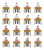 Uma ilustração do grupo dos estudantes que sentam e que leem um livro Imagens de Stock Royalty Free