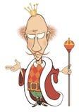 Uma ilustração dos desenhos animados de um rei com um cetro Imagem de Stock Royalty Free