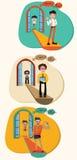 Uma ilustração dos desenhos animados do conceito de como um meio social gerencie um fraco ilustração royalty free