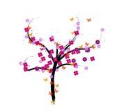 Uma ilustração floral da árvore do vetor Fotos de Stock Royalty Free