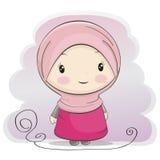 Uma ilustração muçulmana bonito dos desenhos animados da menina ilustração stock