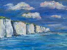 Uma ilustração, pintura de penhascos de giz, mar e céu ilustração royalty free