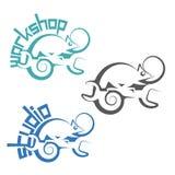 Uma ilustração que consiste em três imagens sob a forma de um camaleão Imagens de Stock