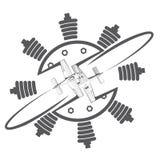 Uma ilustração que consiste em uma imagem simbólica de dois aviões imagens de stock royalty free