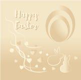 Uma imagem agradável com um coelho e ovos da páscoa no bege Fotos de Stock