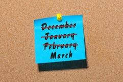 Uma imagem conceptual do começo da mola Mês de março da inscrição e monthes para fora cruzados dezembro do inverno, janeiro Fotos de Stock Royalty Free