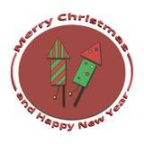 Uma imagem de dois foguetes no ano novo e no Natal ilustração do vetor