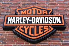 Uma imagem de Harley Davidson Logo - de um Bielefeld/Alemanha - 07/23/2017 Imagens de Stock