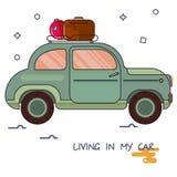 Uma imagem de um carro no estilo dos desenhos animados Pelo carro, vá em uma viagem Imagens de Stock