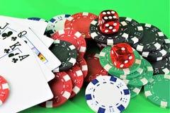 Uma imagem de um casino - dado, microplaqueta, jogando - com espaço da cópia imagem de stock